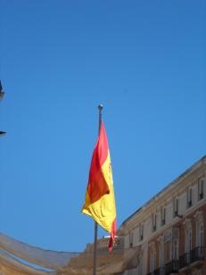 Spanish flag in Calle Larios, Malaga